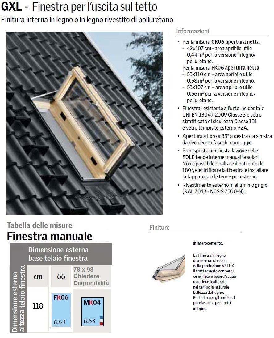 Finestra velux per l 39 uscita sul tetto gxl 3070 standard for Dimensioni standard finestre