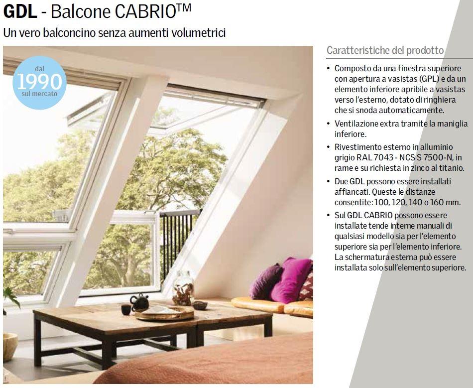 Balcone Cabrio Velux GDL 2066 apertura manuale | Maffei Sistemi srl Vendita  infissi online