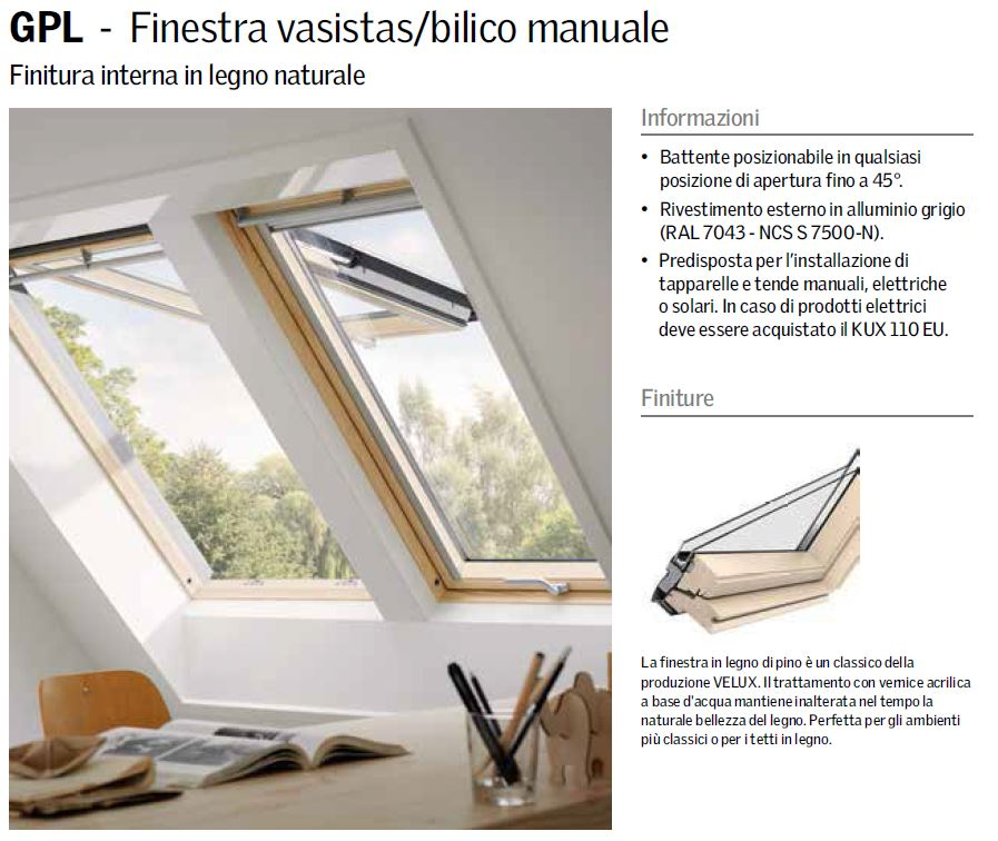 Finestra per tetto apertura manuale vasistas mod gpl 3070 for Finestre velux manuali
