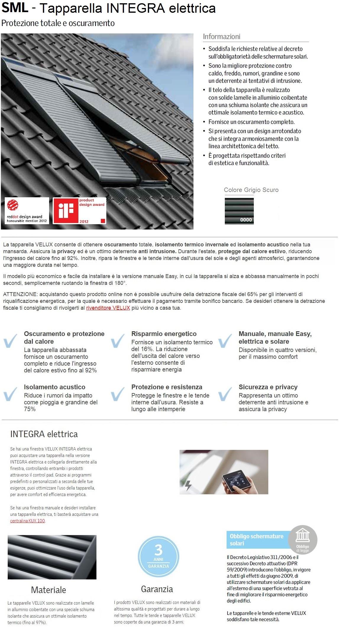 Tapparella esterna velux sml 0000s integra elettrica for Prezzi tapparelle elettriche velux