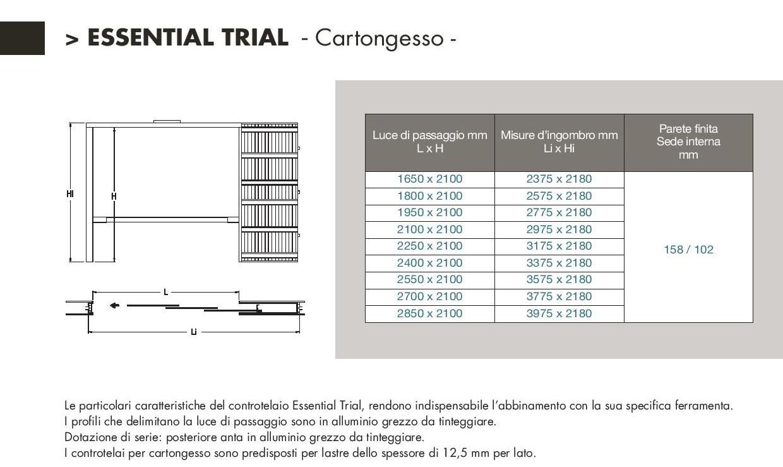 Controtelaio scrigno mod essential trial per cartongesso maffei sistemi srl vendita infissi - Dimensioni porte a scrigno ...
