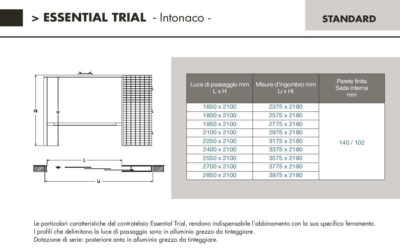 Controtelaio scrigno mod essential trial per intonaco - Porta a scrigno misure ...