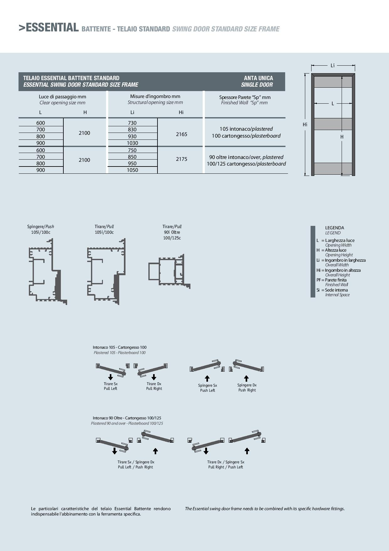 Porta scrigno essential battente intonaco 105 maffei - Porta a scrigno misure ...