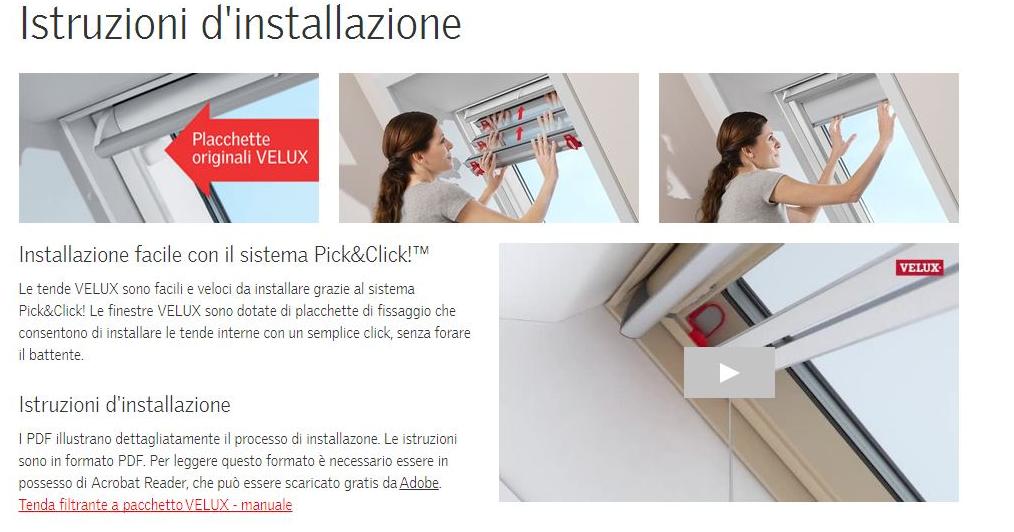 Tende a pacchetto velux fhb manuali colori speciali for Catalogo velux pdf