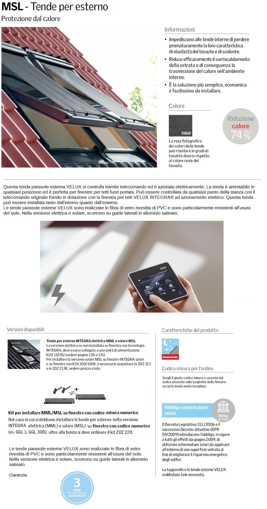 Tenda per esterno velux msl 5060 integra solare maffei for Infissi velux prezzi