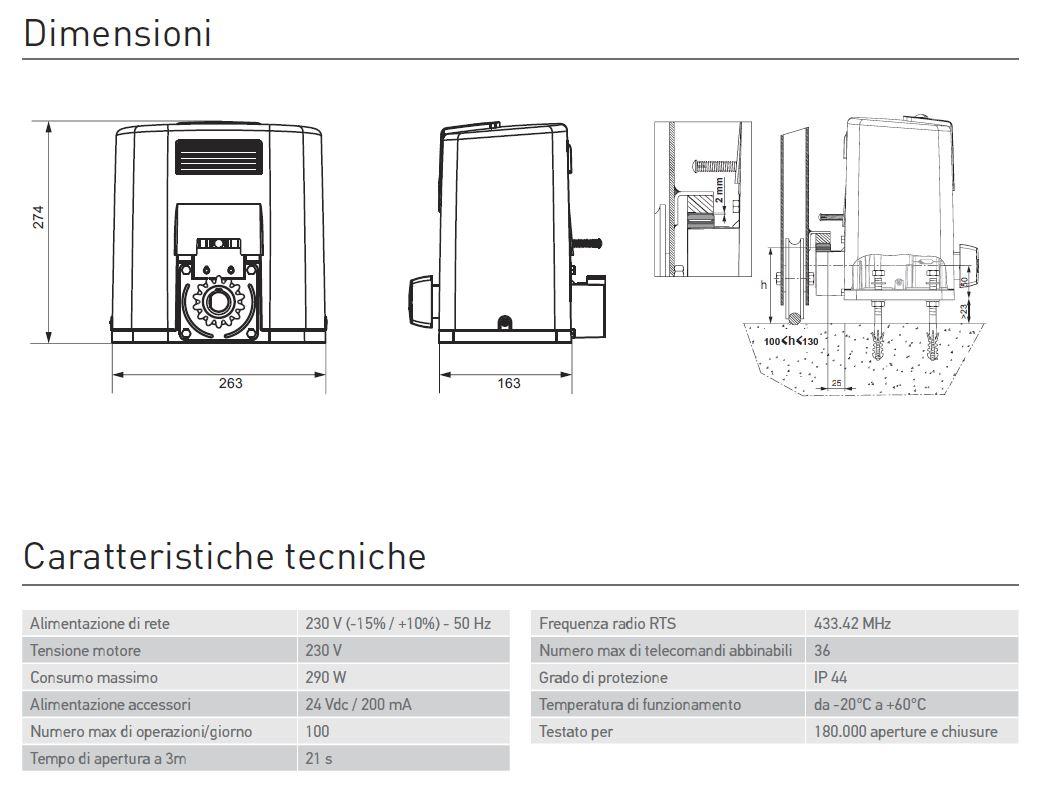Motore per cancelli elixo 500 rts somfy maffei sistemi for Motore per velux prezzo