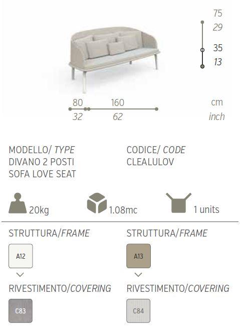 cleo alu divano 2 posti