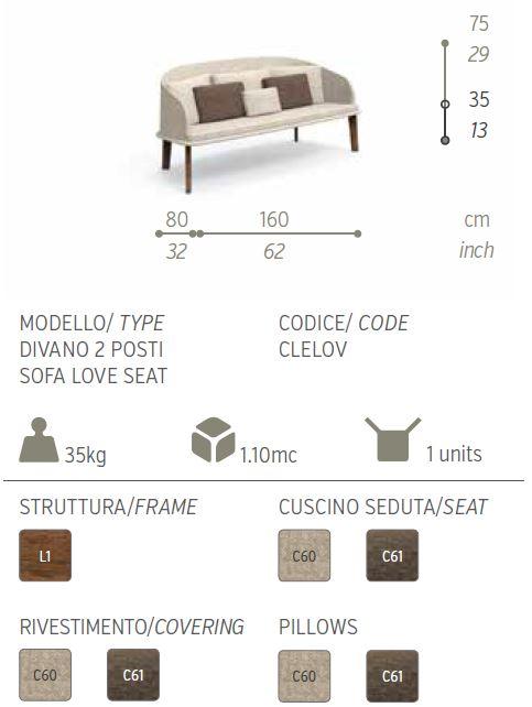 cleo divano 2 posti descriz