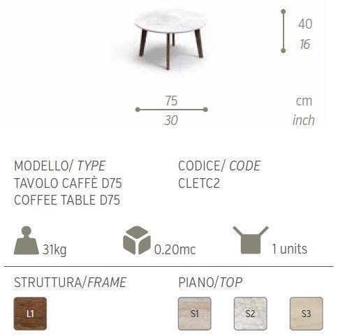 cleo tavolo caffe 75