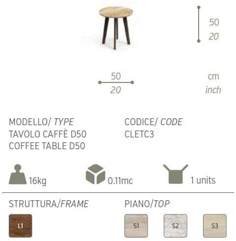 cleo tavolo caffer 50
