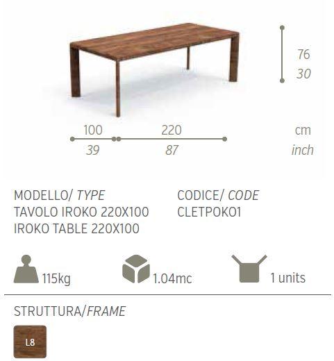 cleo tavolo iroko 220