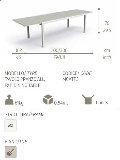 maiorca tavolo 200