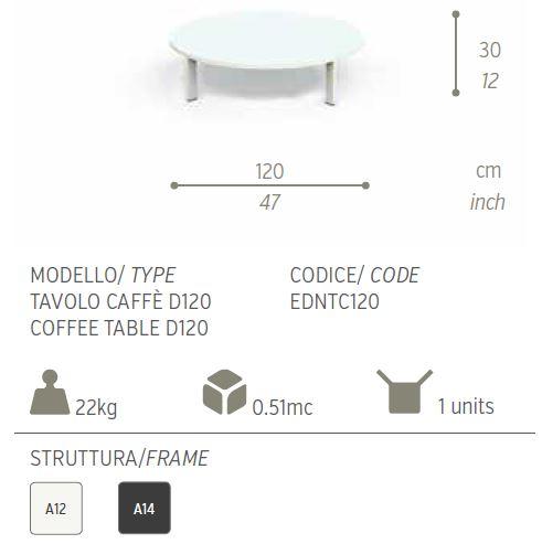 tavolo caffe eden 120
