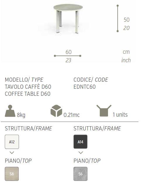 tavolo caffe eden 60