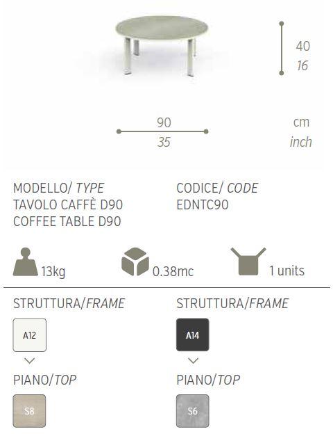 tavolo caffe eden 90