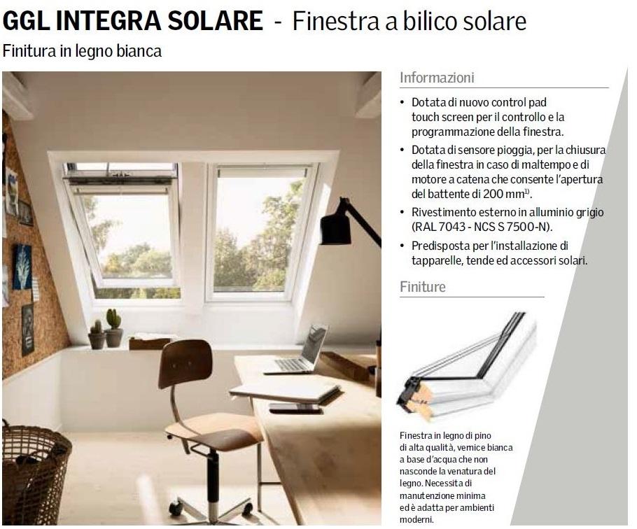 Finestra per tetto apertura elettrica velux mod integra for Listino finestre velux 2017