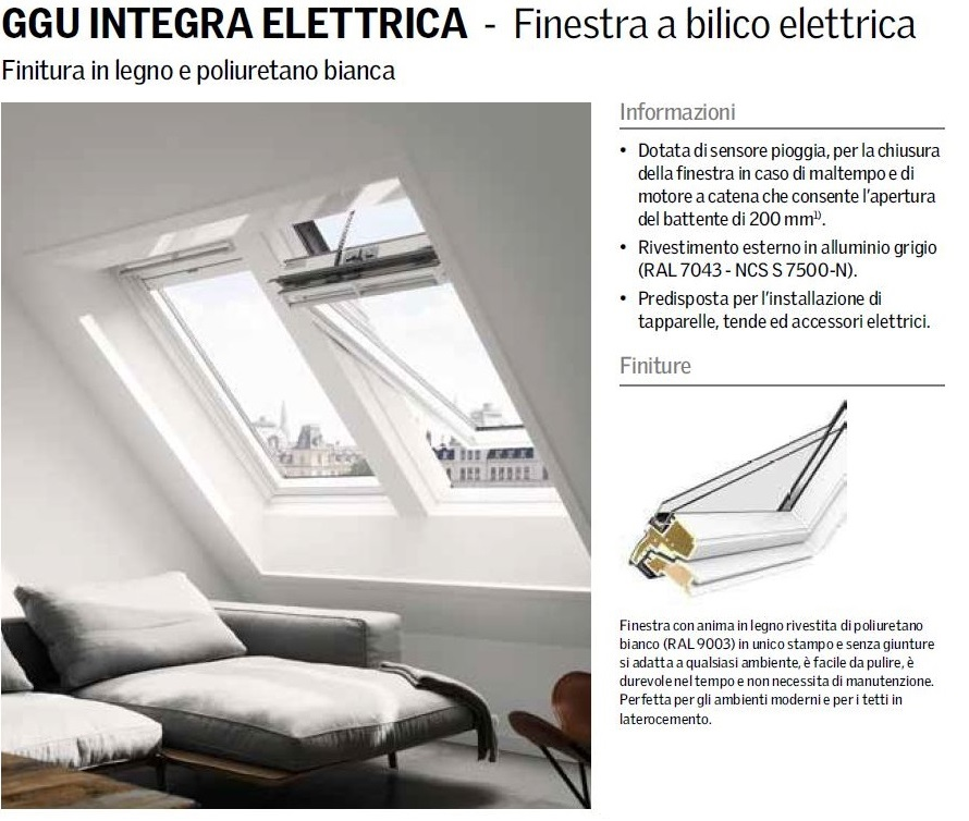 Finestra per tetto velux mod ggu 008621 integra for Finestra elettrica