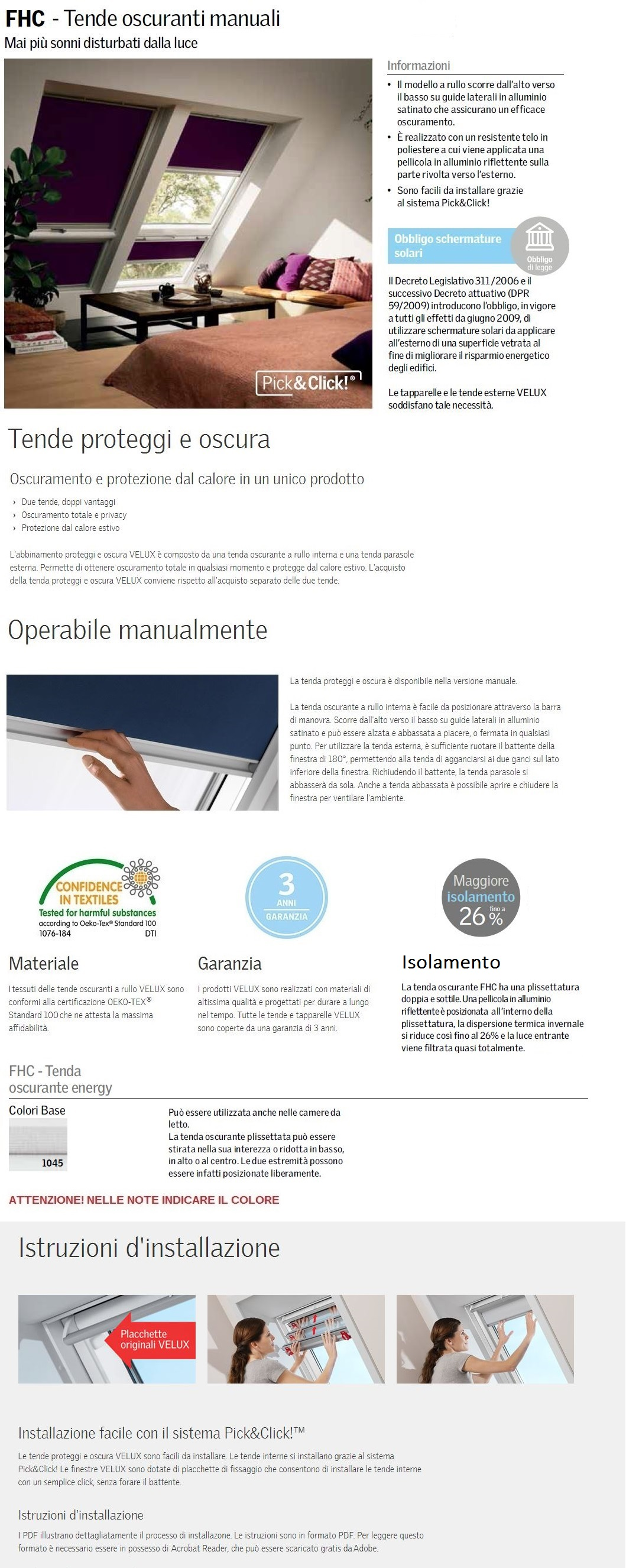 Tenda velux oscurante manuale fhc colori base maffei for Catalogo velux pdf