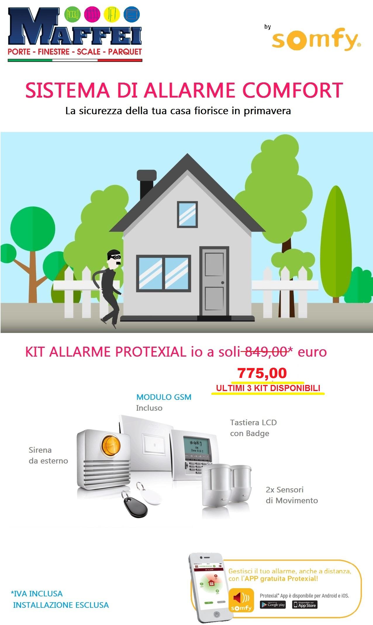 Offerta sistema di allarme somfy mod protexial maffei for Sistema allarme casa